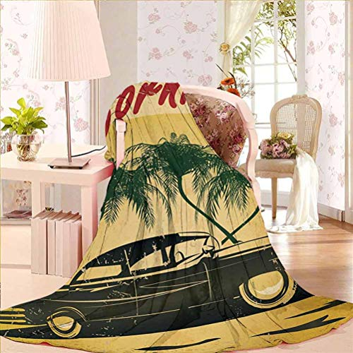 54' W x 84' L Retro Soft Flannel Blanket Ultra Soft Retro Welcome to California Advertising Seat of Hollywood in Pop Art Style Print Red Emerald