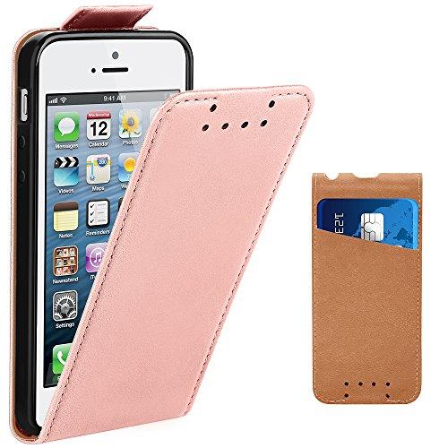 Supad iPhone 5 Hülle, iPhone 5S Hülle, Leder Tasche für Apple iPhone 5 5S SE Handyhülle Flip Case Schutzhülle (Rose Gold)
