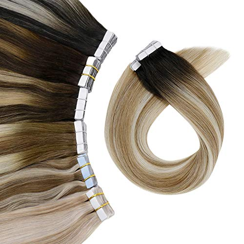 """[Great Color]LaaVoo Glue in Softness Hair Extensions Best Quality Remy Tape in Hair, Short Black Root and Lightest Brown Highlightest Platinum Blonde, Tape on Hair Extensions 50g/20pcs 14"""""""
