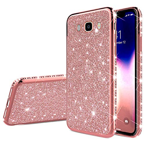 QPOLLY Compatible con Samsung Galaxy J7 2016 Funda Glitter Bling Glossy Plating Silicone TPU Ultra Delgado Transparent Gel Parachoque Funda Protectora Suave para Samsung Galaxy J7 2016, Oro Rosa