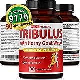 Tribulus Terrestris Capsules Equivalent to 9170 mg Maximum Strength with Panax Ginseng Horny Goat Weed Ashwagandha Tongkat Ali Maca Root for Men Women - 3 Months Supply