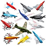 Airplane Toys - 12 Pack Vehicle Aircraft Plane Playset, Includes Styles of Bomber, Military, F-16 Fighter Jets, for Birthday Party Favor Toys, for Kids Boys and Girls