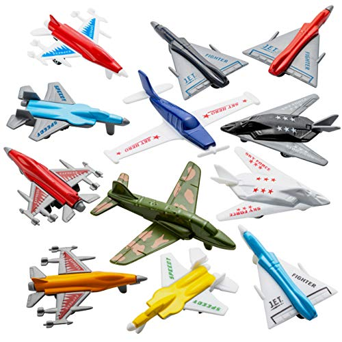 Airplane Toys - 12 Pack Vehicle Aircraft Plane Playset, Includes Styles of Bomber, Military, F-16...