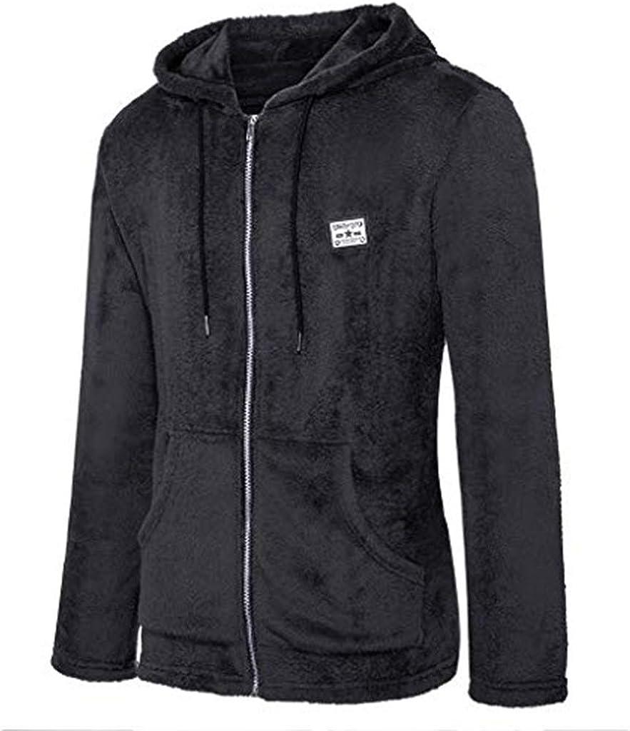 Landscap Men's Fuzzy Sherpa Fleece Hoodie Jacket Open Front Cardigan Casual Blouse Tops Coat Autumn Winter