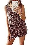 Hawiton Pijamas Mujer Verano Corto cómodo,Fresco Estampado de Leopardo Ropa de Dormir,sin Mangas Camiseta y Pantalones con Bolsillos 2 Piezas