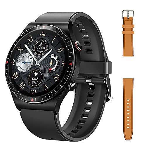 Bluetooth Call T7 Smart Watch Musmusikspelare SmartWatch 2021 IP67 Vattentät röstassistent för Mäns Android Ios, Monsteramy (Color : Add leather brown)