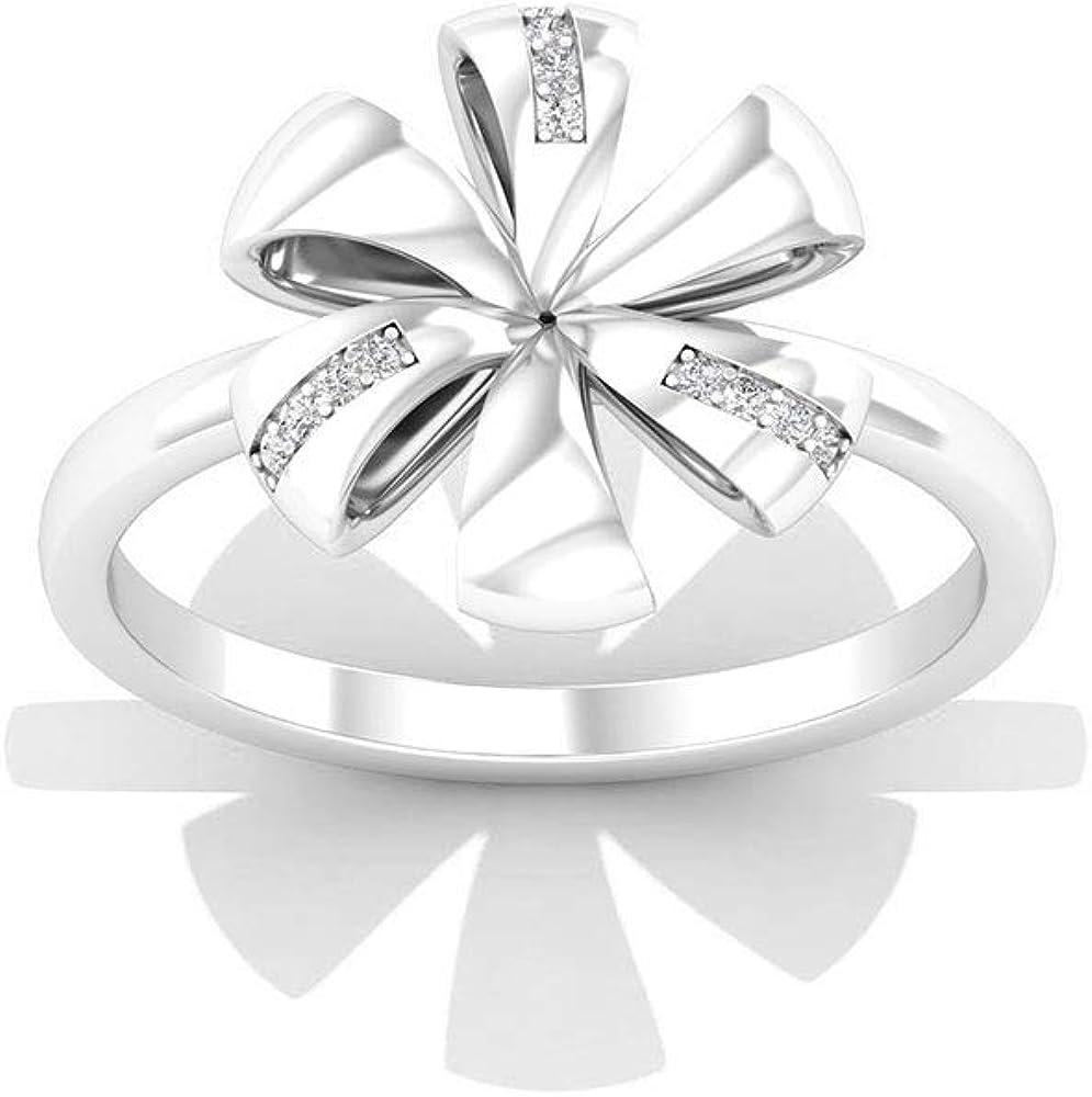 Solid 14k Gold Flower Wedding Anniversary Rings, Pave IGI Certified Diamond Flower Ribbon Wedding Rings, Minimal Bridal Promise Matching Rings for Her, 14K White Gold, Size:US 9.0