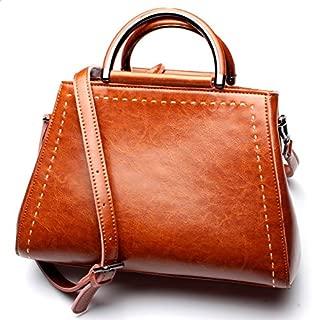 2018 New Women's Handbags Leather New Versatile Handbags Leather Shoulder Slanting Ladies Bag (Color : Brown, Size : M)