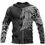 HQLCX Sudaderas con Capucha Vikingas, Raven Munin Tattoo All-Over Print 3D Harajuku Unisex Chaqueta Informal Pullover,Zip Hoodies,6XL