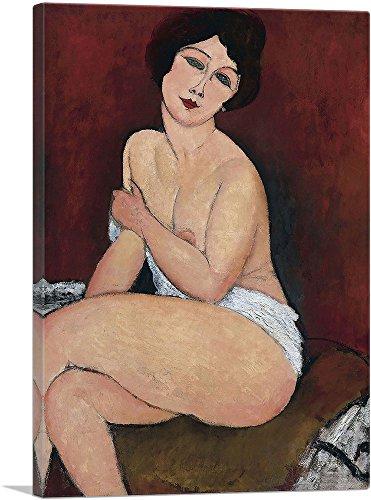 "ARTCANVAS Nude Seating on a Sofa 1917 Canvas Art Print by Amedeo Modigliani - 26"" x 18"" (0.75"" Deep)"
