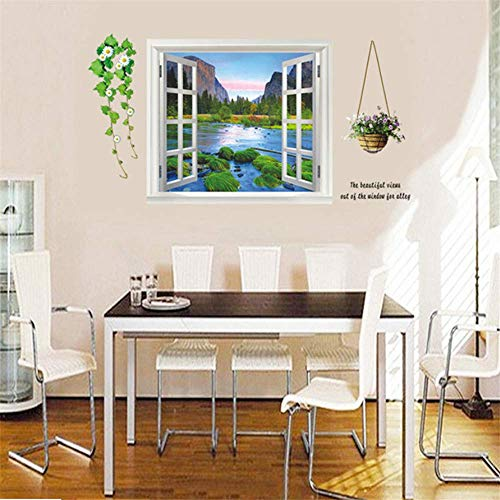 Wall Stickers Living Room Peel and Home Dining Room Living Room Landscape Window Wall Sticker 3D Effect Simulation Basket Flower Vine Garden Decoration Decoration
