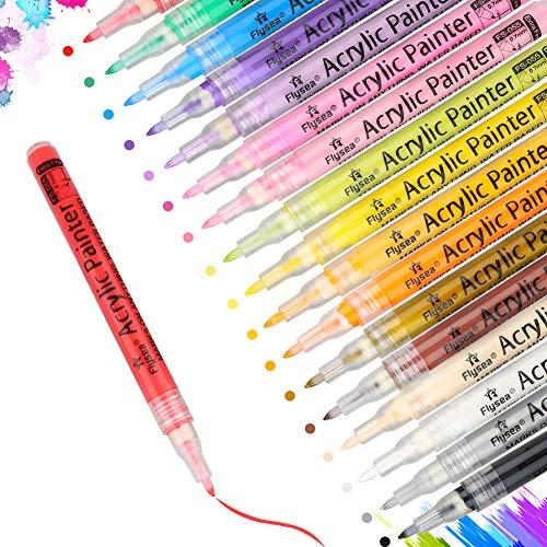 Acrylstifte Marker Stifte,DIAOCARE18 Farben Wasserfeste Stifte mit Tinte auf Wasserbasis,Acrylfarben stifte für Stein,DIY Fotoalbum Gästebuch,Papier, Glasmalerei,Stoff,Garten(0.7 mm)
