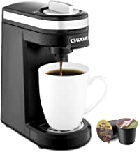 CHULUX Single Serve Coffee Maker, Personal Coffee Brewer Machine for Single Cup Pods & Reusable Filter, 12oz Water Tank, Quick Brewing, One Touch Operation, Compact Size, for Home, Office, RV