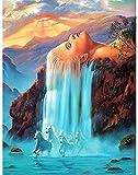 Pintura Por Númerosadultos Bricolaje Acrilico Kits Pintura Al Óleo Cumpleaños Creativo Regalos Por Niños Principiantes Paisaje De La Cascada 40X50Cm Con Marco