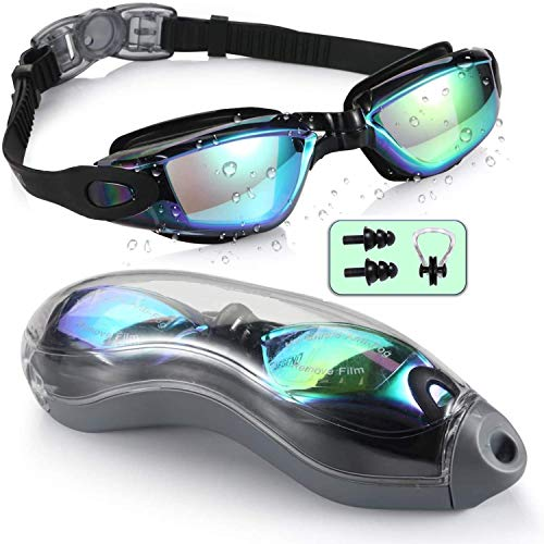 Pangid Swimming Goggles UV Protection Anti-Fog for Men Women Kids with solid Protection Case - Black color Swim Glasses Assured No Leaking and Adjustable Strap for Comfort fit for adults boys and kids