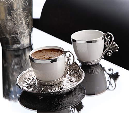 LaModaHome Espresso Kaffeetassen mit Untertassen 6er Set Porzellan Türkisch Arabisch Griechisch Kaffeetasse und Untertasse für Frauen Männer Erwachsene Gäste Einzug Hochzeit Geschenke - Silber/Weiß