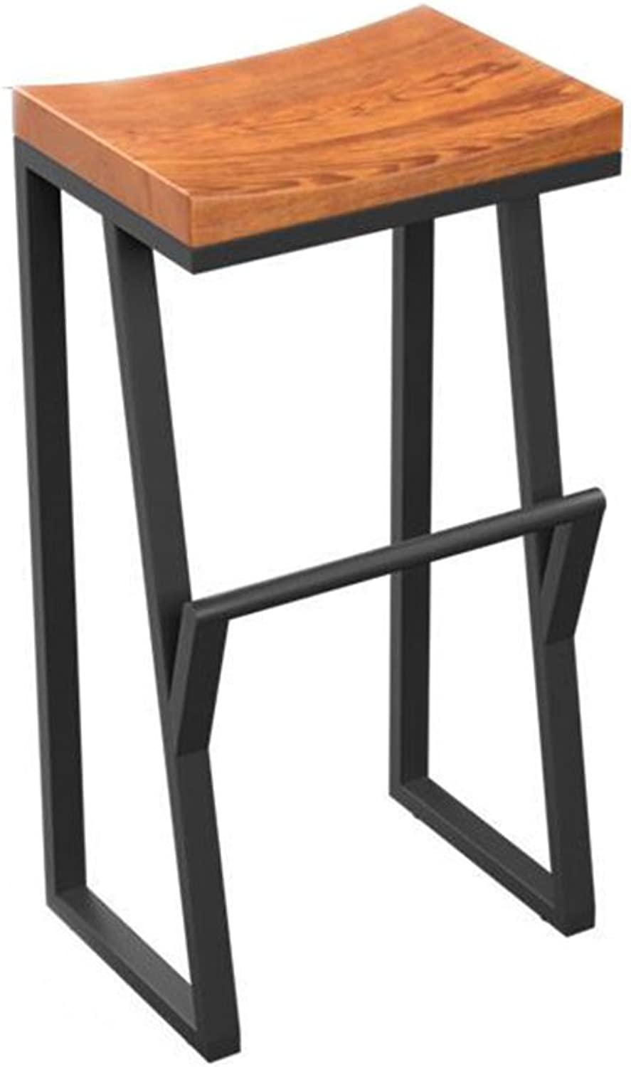 C-J-Xin Vintage Bar Stools, Iron Art High Stool Solid Wood Bar Chair Cafe Household Front Bench Leisure Stool Height 63-85CM Novel Style (Size   38  36  70CM)