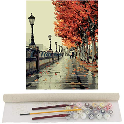TwoSteps Paint By Numbers For Adults Kids Paint By Number Kits Rolled Canvas Fine Paintbrushes DIY Painting By Numbers 16x20inch (16x20inch No Frame Rolled Canvas, Autumn Love)