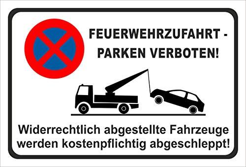 KE-Partyzubehör Schild 45x30cm Parken verboten - Feuerwehr-Zufahrt - 3mm Aluverbund | Bohrlöcher - 20 Varianten