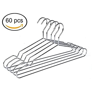 Quality Hangers 60 Heavy Duty Metal Suit Hanger Coat Hangers with Polished Chrome (60)