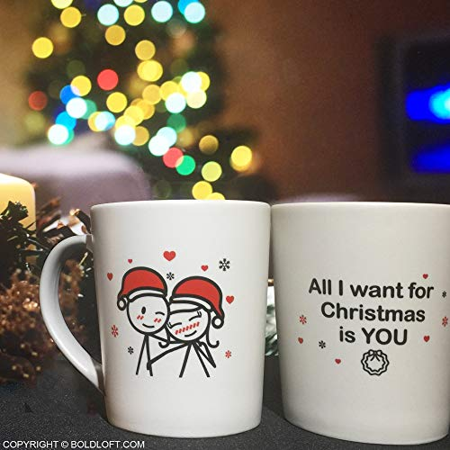 BOLDLOFT Merry Christmas Couple Mugs Set of 2|Christmas Mugs for Couples|Christmas Gifts for Him,Her,Husband,Wife,Girlfriend,Boyfriend|Girlfriend Gifts for Christmas|Couple Gifts for Christmas