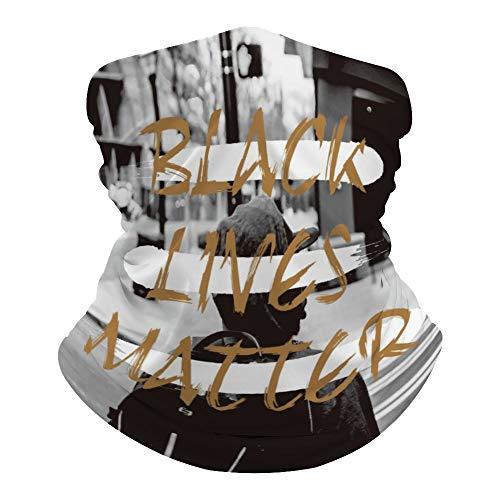 Black LIVES MATTER Bufanda versátil para la cabeza, cara y boca cubierta antiracista impresa mágica escudo hippie tiro cuello polainas para polvo - Resistente al sol al aire libre 19.6'Lx9.8W l4pm65dusvhu
