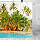 Martinique Shower Curtain Travel Bathroom Decor Set with Hooks Polyester 72x72Inch(YL-03810)
