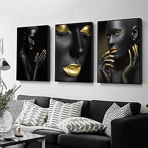 Cuadro en lienzo negro dorado mujer africana imágenes artísticas de pared mujeres desnudas carteles artísticos impresiones obras de arte modernas decoración de la sala de estar 60x80cmx3pcs sin marco