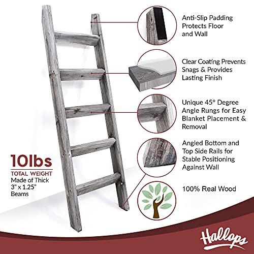 Blanket Ladder 5 ft. Premium Wood Rustic Decorative Quilt Ladder. Gray White Vintage Wooden Decor. Throw Blankets Holder Rack