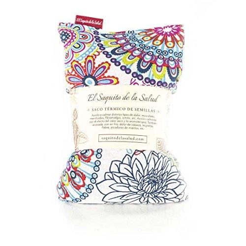 Saco Térmico de Semillas aroma Lavanda, Azahar o Romero tejido Flores Multicolor (Romero, 50_cm)