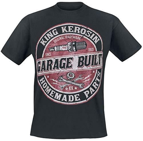 King Kerosin Garage Built Homme T-Shirt Manches Courtes Noir 3XL, 100% Coton, Regular/Coupe Standard