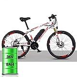 YBCN Una Versión Mejorada De Una Bicicleta De Montaña Eléctrica con Un Sistema De Cambio 21/27 Batería De Litio De 36V 8AH / 10AH 26 Pulgadas,Blanc Rouge,21speed Luxury