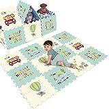 Dr.COLORFUL Alfombra Puzzle para Niños Bebe Infantil 6 Piezas de Gran Tamaño Espesar Stomping Ground Toys Numero Carta Animal Alfombrillas de Enclavamiento Suelo Estera 60 * 60 * 1.5cm