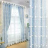 Jodimitty Vorhang, Blau Halbtransparent Modern Samt Verdunkelungsvorhang, Voile Gardinen Stickerei Weich Vorhang, Leicht Dekoschal Dekorvorhang für Dekoration Wohnzimmer Schlafzimmer (160x107cm)