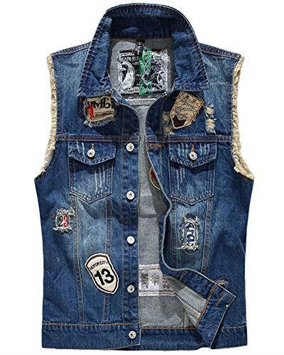 ZhuiKunA Giacca Denim Uomo Jeans Denim Panciotto Senza Maniche della Maglia Gilet in Jeans Blu M