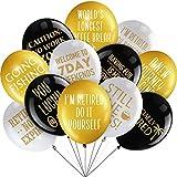 48 Pièces 12 Pouces Ballons de Décoration de Latex Amusants pour Fêter la Joyeuse Retraite, Ballons Décoratifs en Or Blanc et Noir pour Fournitures de Retraite Intérieur/ Extérieur