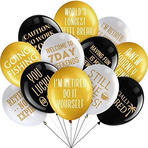 48 Stücke 12 Zoll Glücklichen Ruhestand Party Latex Luftballons Dekoration, Weiß Gold und Schwarz Lustig Ruhestand Dekoration Ballons für Ruhestand Party Zubehör Drinnen/ Draußen