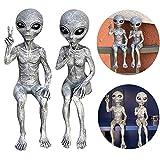 AIITLLYNA Alien Dekoration,2er Set Außerirdische Statue,Alien Statue Garten,Lustige Gartendeko Figuren,Harz Deko Figuren für Schlafzimmer Wohnzimmer Terrasse Balkon Hof Rasen