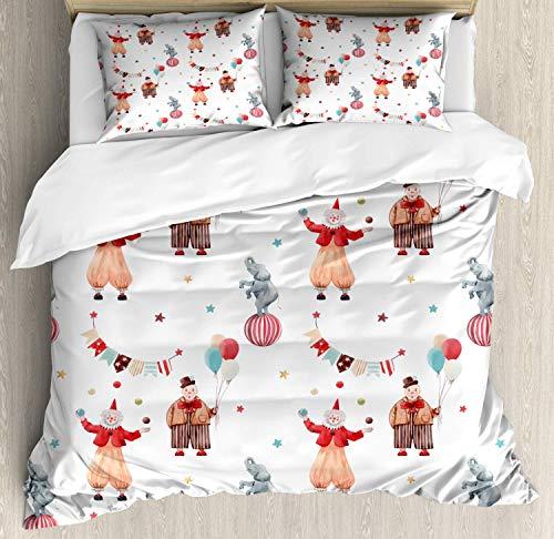 Juego de funda nórdica de circo, patrón de pintura en acuarela de payasos divertidos elefante en una bola de estrellas y banderas, juego de cama decorativo de 3 piezas con 2 fundas de almohada, blanco
