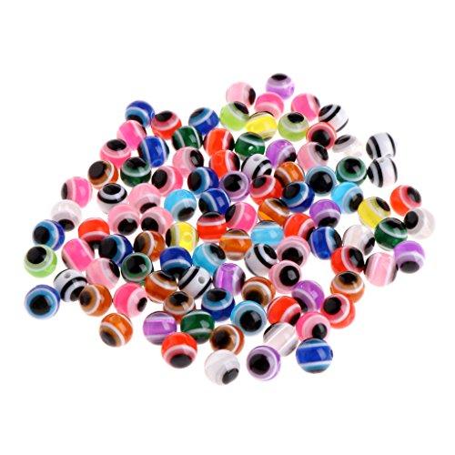 SKYVII 100 cuentas redondas de ojo malvado de 8 mm para joyería de moda pulsera haciendo bricolaje