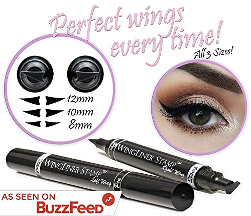 Winged Eyeliner Stamp – The Flick Stick by Lovoir Black, Waterproof Make Up, Smudgeproof, Long Lasting Liquid Eye liner Pen, Vamp Style Wing (All Sizes Triple Pack Combo, Midnight Black)