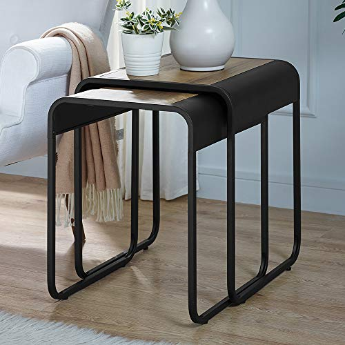 Walker Edison Furniture Company Curved Metal Frame Nesting Side Accent Set Living Room Storage End Table, Reclaimed Barnwood