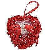 Arlai Wedding Ring Pillow Heart Box Red Romantic Rose Flowers Wedding Jewelry Case