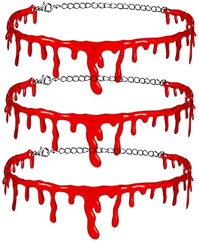 Jukre Collana Girocollo Rosso Sangue Gocciolante Collana Girocollo Horror Halloween Zombie Punk, Girocollo Rosso Sangue Gocciolante Horror di Halloween, per Decorazioni per Feste
