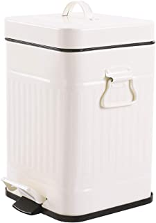 Bathroom Trash Can with Lid, Small White Wastebasket for Bedroom with Soft Close Lid, Retro Vintage Style Square Garbage Bin (Cream White, 5L)