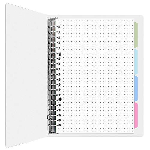 MyLifeUNIT - Cuaderno de cuadrícula punteada, hojas sueltas con viñetas y divisor, 100 g/m² de papel A5, 60 hojas.