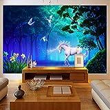 Fondo De Pantalla En 3D Deco Efecto Pared Imágenes Caballo Blanco Unicornio,Bosque Imágenes Fondo Decoración Pared Tv Poster 200X140Cm