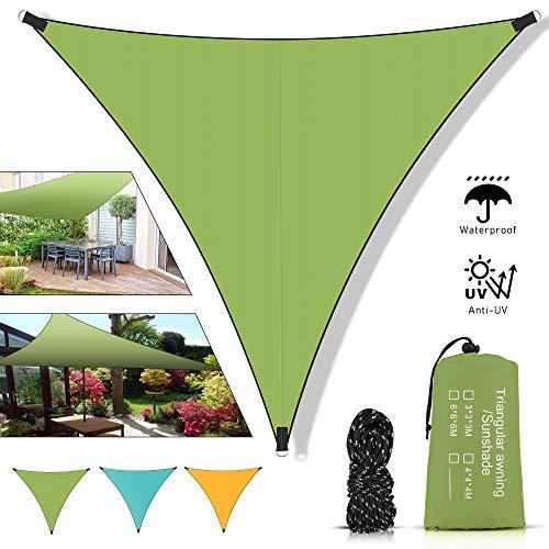 Toldo Vela de Sombra Triangular, Vela de Sombra Triangular 3x3x3, Impermeable Toldos protección Rayos UV y HDPE Transpirable para Patio Exteriores Jardín