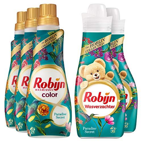 Robijn Perfecte Match Color Paradise Secret Wasmiddel en Wasverzachter 3 x 21 en 2 x 30 wasbeurten