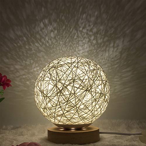 Lixada Lámpara de mesa redonda Luna luces nocturnas lámpara de bola USB lámpara de escritorio de mesilla de noche de ratán trenzado para salón, dormitorio